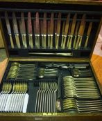 Canteen of Silver Plated Cutlery by Mappin & Webb, Enclosed in an oak case