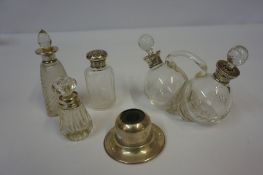 Mixed Lot of Silver Mounted Toilet and Cruet Bottles, to include a glass cruet bottle, also with a