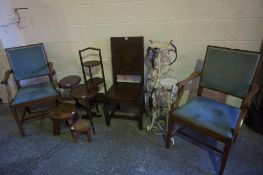 Mixed Lot of Occasional Furniture, to include an oak hall chair, pair of elbow chairs, rustic