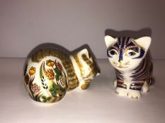 Two Royal Crown Derby Paperweights, Modelled as cats, with boxes, (2)
