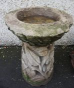 Stone Garden Bird Bath, Decorated with applied panels of leaves,