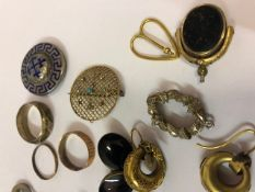 Quantity of Gold, Silver and Metal Jewellery, to include wedding bands, earrings, brooches etc