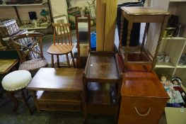 Mixed Lot of Occasional Furniture, to include blanket box, chairs, piano stool, mirror etc, (9)