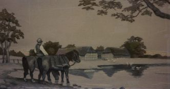 Embroidery of a Farming Scene, framed