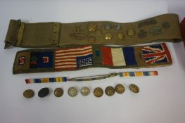 Collection of Military Buttons and Ephemera, to include army belts, badges, medal clasps etc