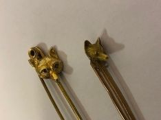 9ct Gold Fox Head Stick Pin, also with a yellow metal fox head stick pin, (2)