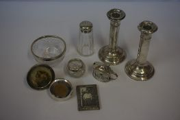 Mixed Lot of Silver, to include candlesticks etc