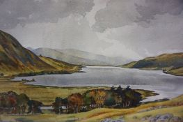 "TJ Bertram (Scottish Contemporary) ""Rainy Day, St Mary,s Loch, Selkirkshire"" Watercolour, signed and"