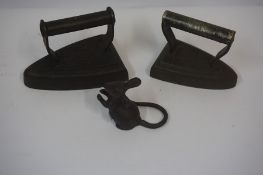 Flat Iron by Carron Works Foundry Falkirk, also with another flat iron and an iron figure of a