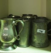 Quantity of Pewter, Brass and Silver Plated Wares, to include pewter tankards, flat irons, also with