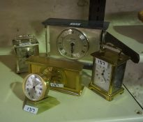 Mixed Lot of Clocks, to include a French 8 day carriage clock, Swiss made 8 day mantel clock, desk