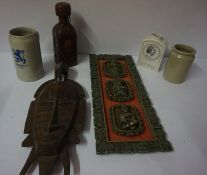 Mixed Lot of Sundries, to include, tribal mask, tankard, stone storage jar etc
