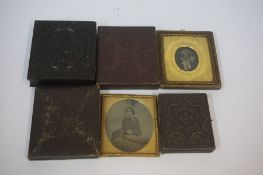 Five Victorian Daguerreotype Photographs, three in original cases, also with a Daguerreotype