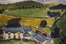 "John McNairn (Scottish 1910-2009) ""Cottages with Landscape to Background"" Watercolour"