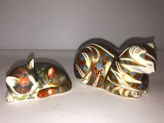 Two Royal Crown Derby Paperweights, Modelled as a kitten and a cat, with boxes, (2)