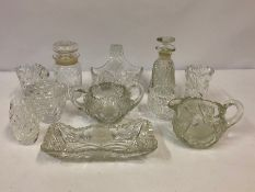 Mixed Lot of Crystal and Cut Glass, to include a decanter and basket etc (11)