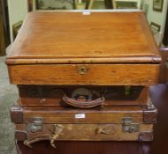 Two Vintage Suitcases, to include a leather bound example, also with a writing slope, (3)