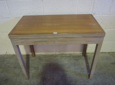Retro Teak Card Table, Having a swivel top, enclosing a green felt lined interior, 72cm high, 92cm