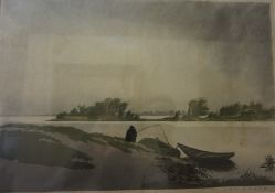 "Leo Frank ""River Scenes"" Prints, Signed in pencil lower right, 22cm x 31.5cm, framed, (2)"