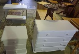 A Mixed Lot of Modern Furniture, to include a painted four drawer chest with similar bedside