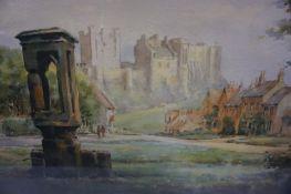 "Frank Watson Wood (Scottish 1862-1953) ""Bamburgh Castle"" Watercolour, signed lower right,"