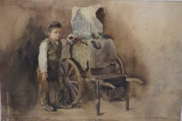 """John Blair """"Boy with Chestnut Cart"""" Watercolour, signed lower left, 32.5cm x 47cm, later mounted and"""