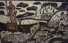 """Jane Hyslop """"Wallace Statue at Dryburgh"""" Limited Edition Woodblock Print, numbered, signed in pencil"""