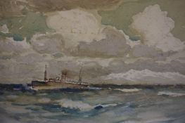"""Frank Henry Mason R.B.A (1876-1965) """"Sea Scene with Boats"""" Watercolour, old label to verso"""