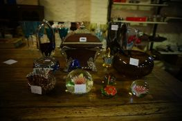 Mixed Lot of Glass Wares, to include a scent bottle, water jug, paperweights, magnifying glasses