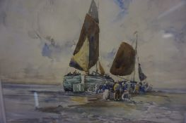 """Robert McGowan Coventry A.R.S.A R.S.W (Scottish 1855-1914) """"Unloading the Catch"""" Watercolour"""