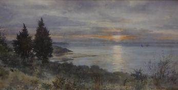 "Frank Watson Wood (Scottish 1862-1953) ""Sunset on the Berwickshire Coast near Gullane"""