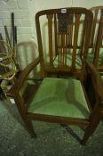 Set of Four Edwardian Walnut Parlour Chairs, Including one carver, (4)