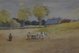 """William Heatlie (1848-1892) """"Farmer Ploughing"""" Watercolour, signed and dated 1885 to lower right"""