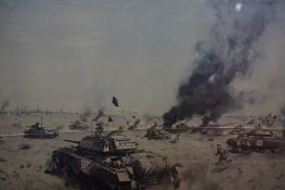 """Terence Cuneo """"HQ 7th Armoured Brigade at Sidi Rezegh 21st November 1941"""" Signed Military Print,"""