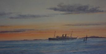 """Frank Watson Wood (Scottish 1862-1953) """"SS Mantua Leaving Fjords"""" Watercolour, signed and dated 1914"""