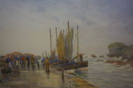 """D Martin (British Early 20th Century) """"The Return of the Fishing Fleet, Old Harbour Pittenweem"""""""