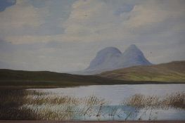 """Robert Ritchie """"Suilven in Sutherland, Highland Region"""" Oil on Board, signed lower left"""