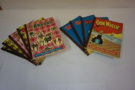 Nine Oor Wullie and the Broons Annuals, circa 1960s-70s, to include Oor Wullie editions from 1968
