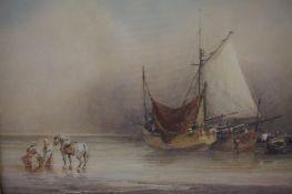 "Anthony Vandyke Copley Fielding (1787-1855) ""Unloading the Catch"" Watercolour,"