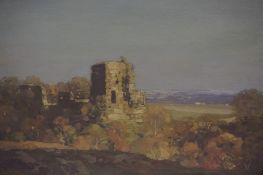 """George Houston R.S.A R.S.W R.I (Scottish 1869-1947) """"Castle Ruin in the Scottish Borders"""" Oil on"""