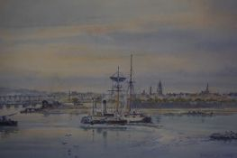 "Frank Watson Wood (Scottish 1862-1953) ""Berwick Harbour with the Royal Border Bridge in the"