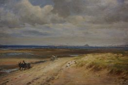 """Thomas Wilson (Scottish FL 1875-1914)) """"Mussleburgh Sands Looking East"""" Oil on Canvas, signed T"""
