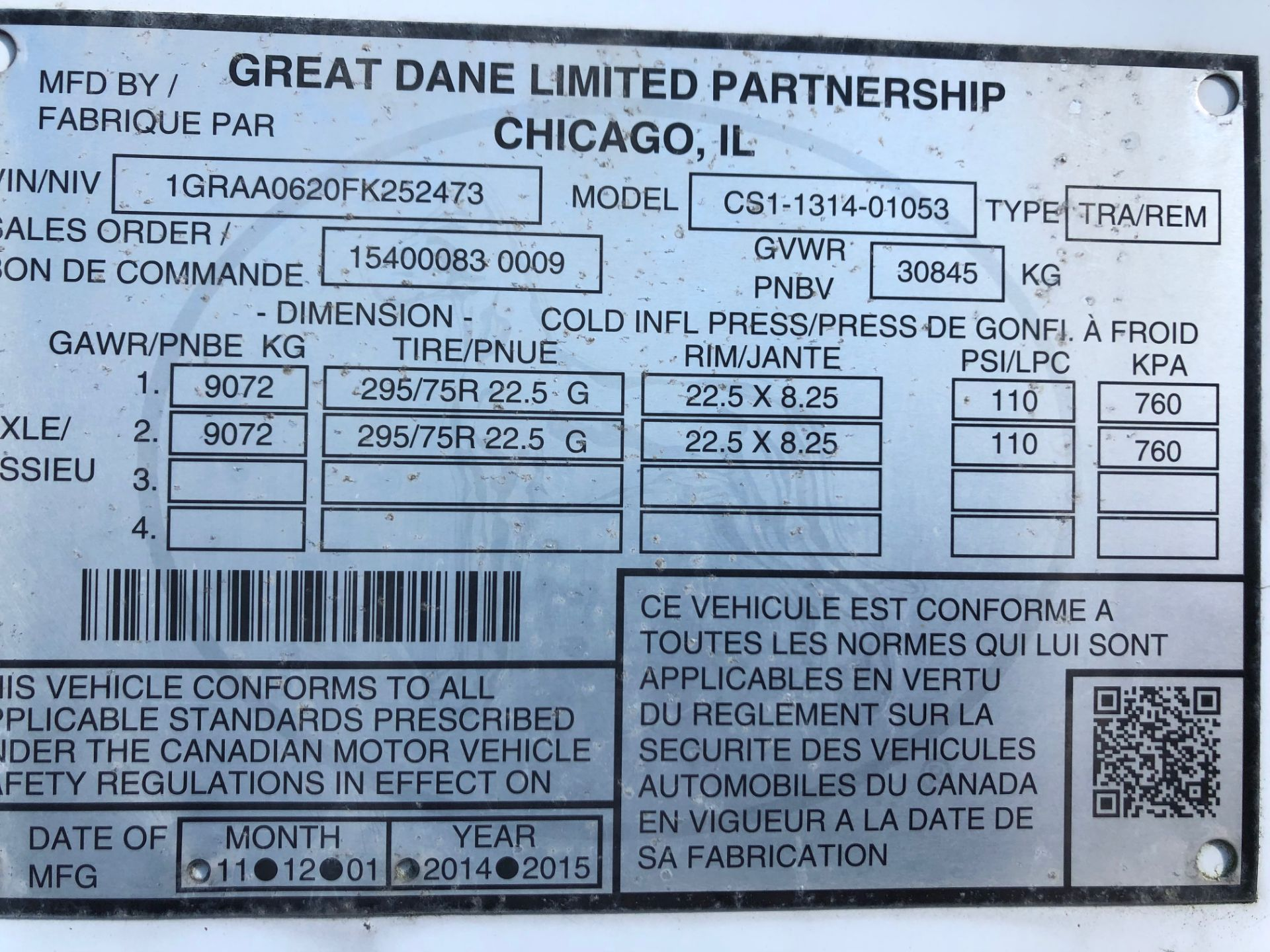 Lot 21A - 2015 Great Dane Champion SE Series 53'-0 tandem axle van trailer