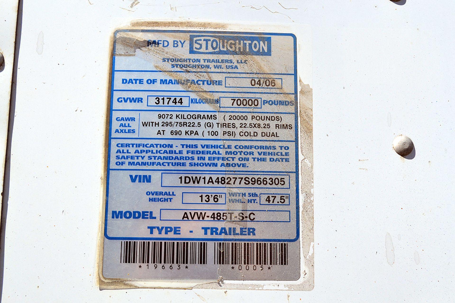 Lot 23 - 2007 Stoughton 48' Tandem Axle, Van Trailer