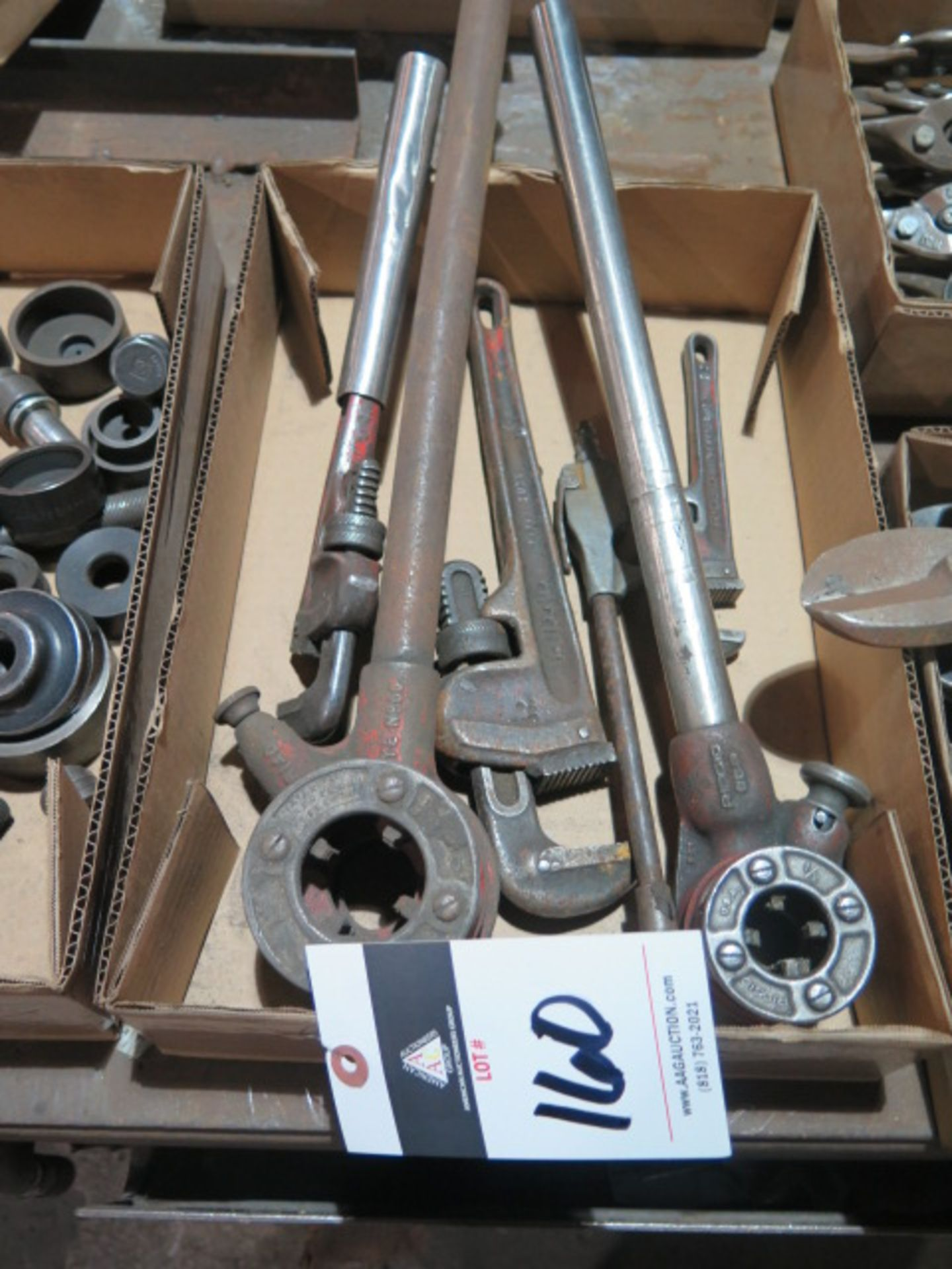 Lot 160 - Pipe Dies and Pipe Wrenches