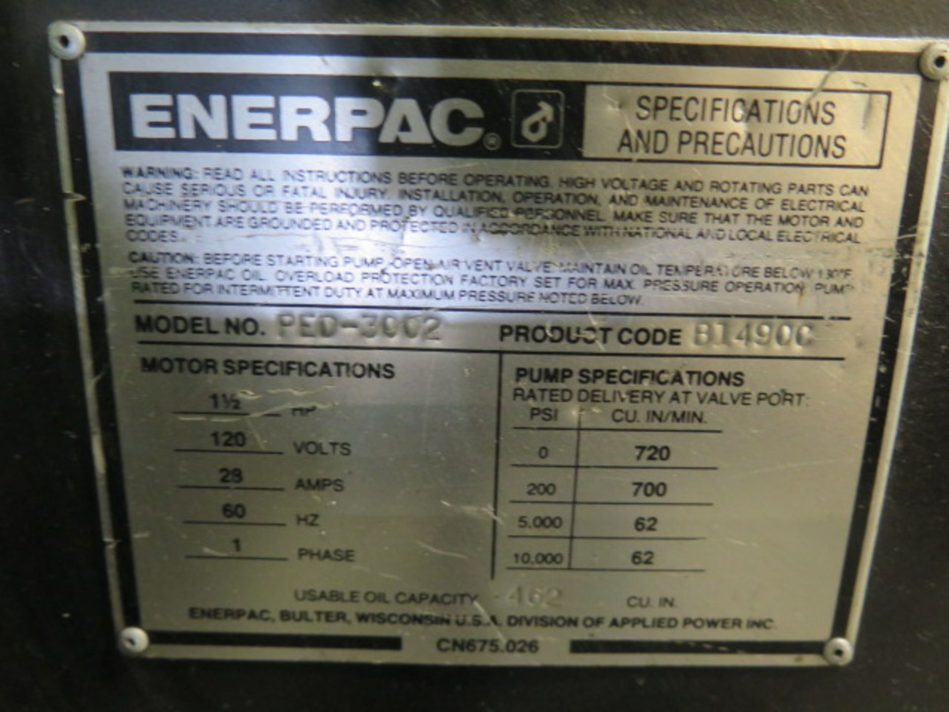 """Lot 195 - Enerpac 3"""" x 3"""" Hydraulic Corner Notcher w/ 26"""" Throat (AT TIP), Rolling Stand"""