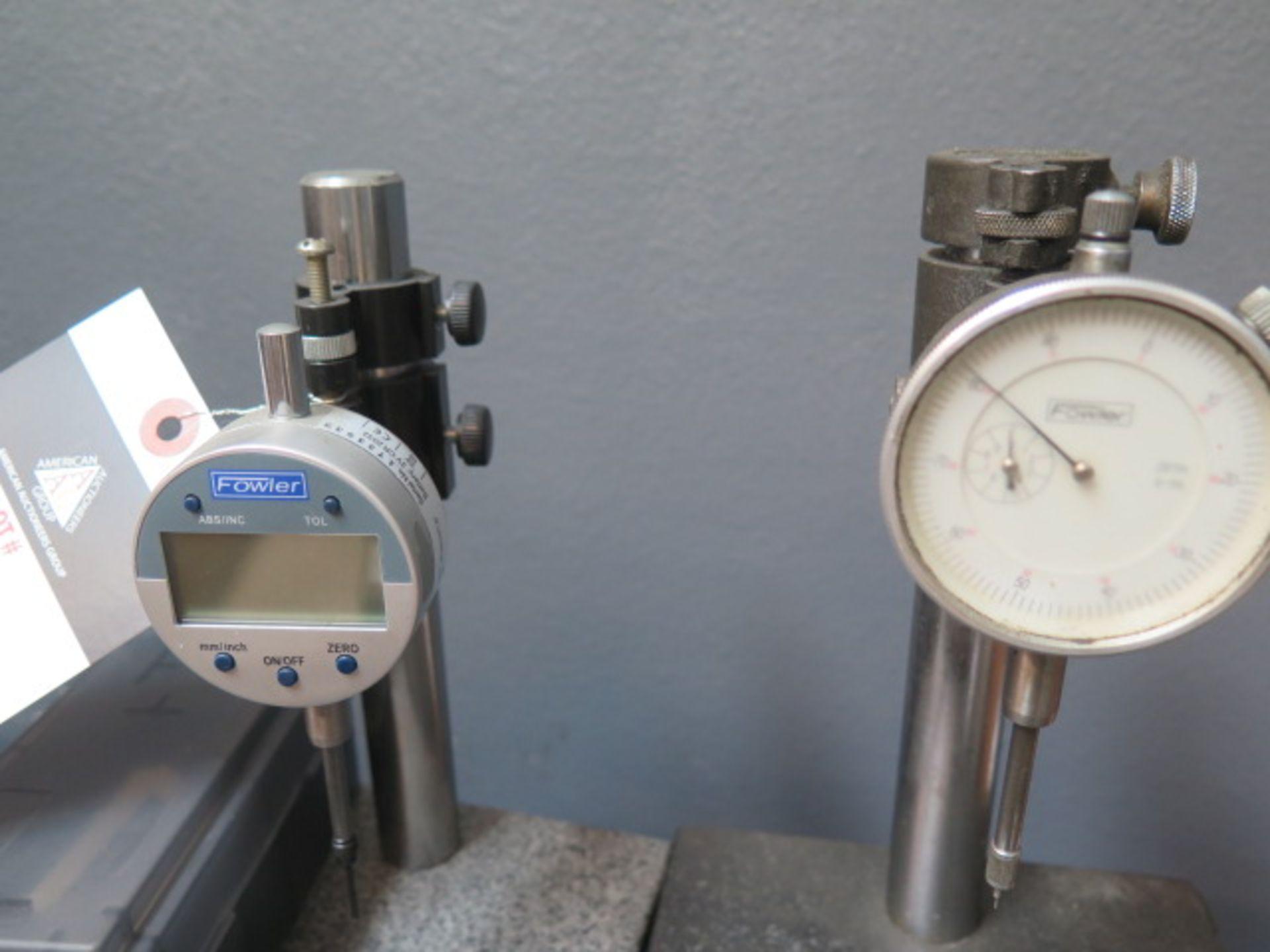 """Lot 5 - 6"""" x 6"""" Granite Indicator Bases w/ Digital and Dial Indicators (2)"""
