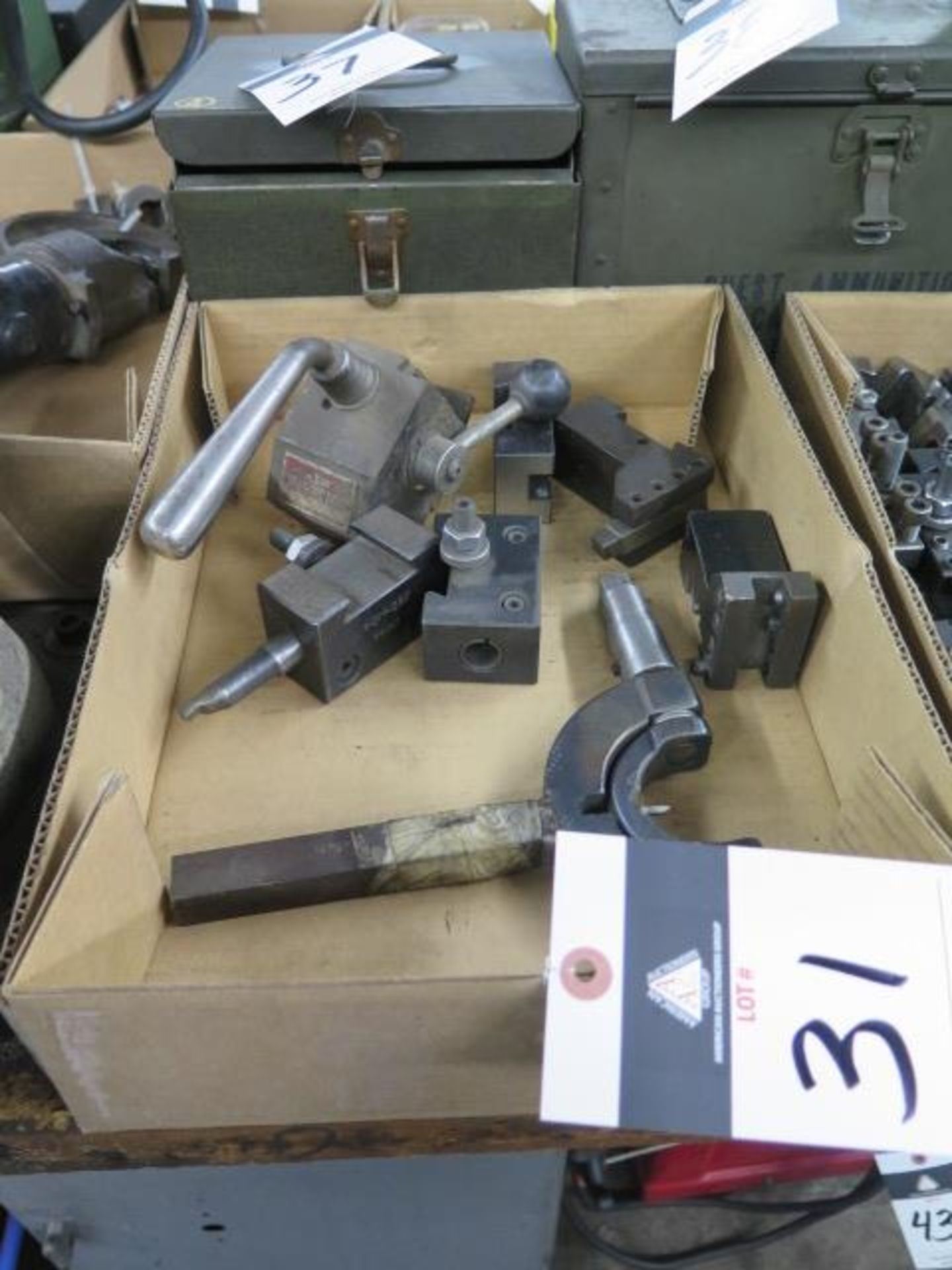 Lot 31 - KDK Tool Post w/ Tool Holders and Custom Radii Cutter