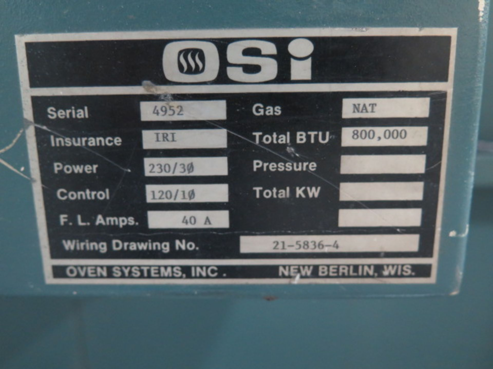 Lot 142 - OSI Oven Systems Inc. 800,000 BTU Natural Gas Fired Oven s/n 4952 w/ 10 ½' x 13' Outside Dims, Digit