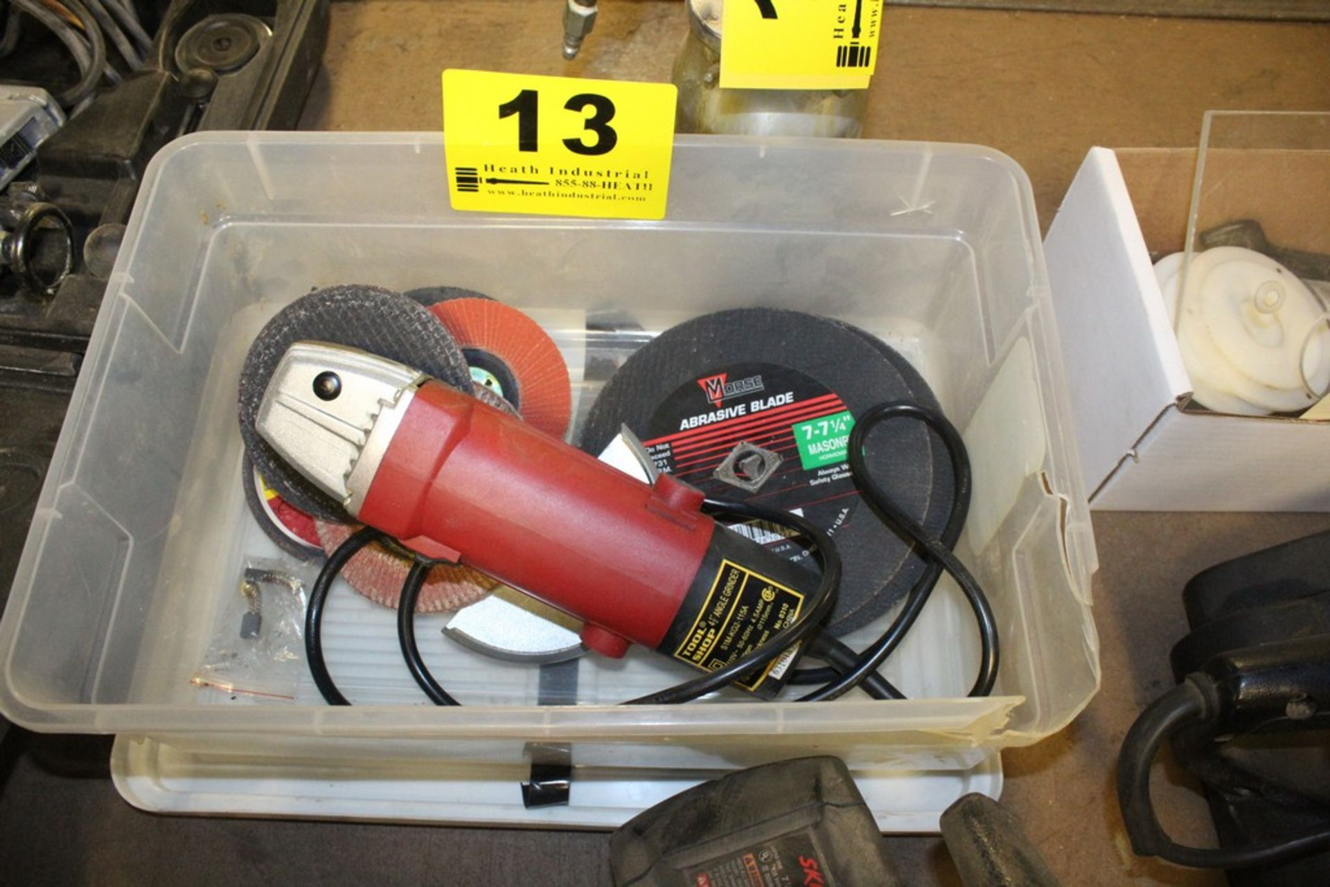 """Lot 13 - TOOL SHOP 4-1/2"""" RIGHT ANGLE GRINDER WITH WHEELS PLUS ABRASIVE CUTTING BLADES IN BOX"""
